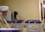 امام جمعه پاوه، رأی خود را به صندوق انداختند./ گزارش تصویری